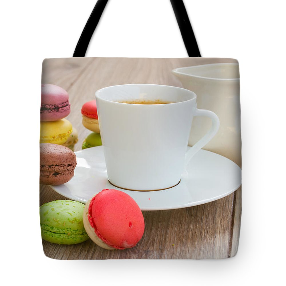 Coffee Tote Bag featuring the photograph Coffee And Macaroons by Anastasy Yarmolovich