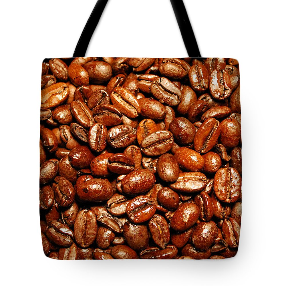 Coffee Tote Bag featuring the photograph Coffee Beans by Nancy Mueller