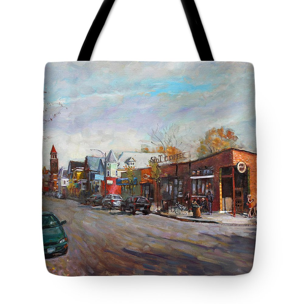 Spot Coffee Tote Bag featuring the painting Coffee Break At Spot by Ylli Haruni