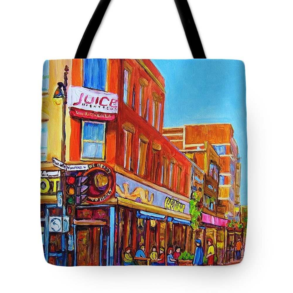 Cityscape Tote Bag featuring the painting Coffee Depot Cafe And Terrace by Carole Spandau