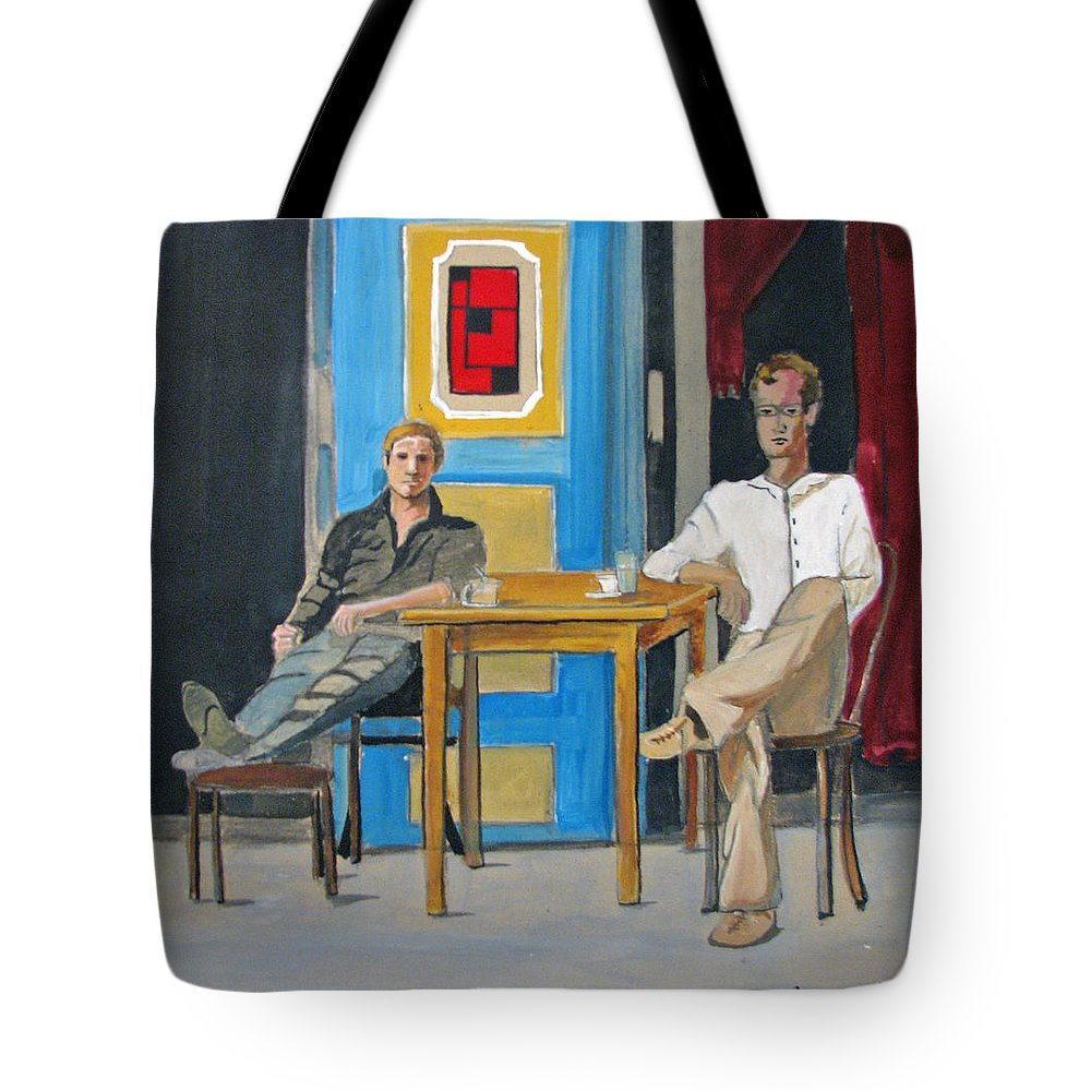 Portraits Tote Bag featuring the painting Coffee In China Town by Patricia Arroyo
