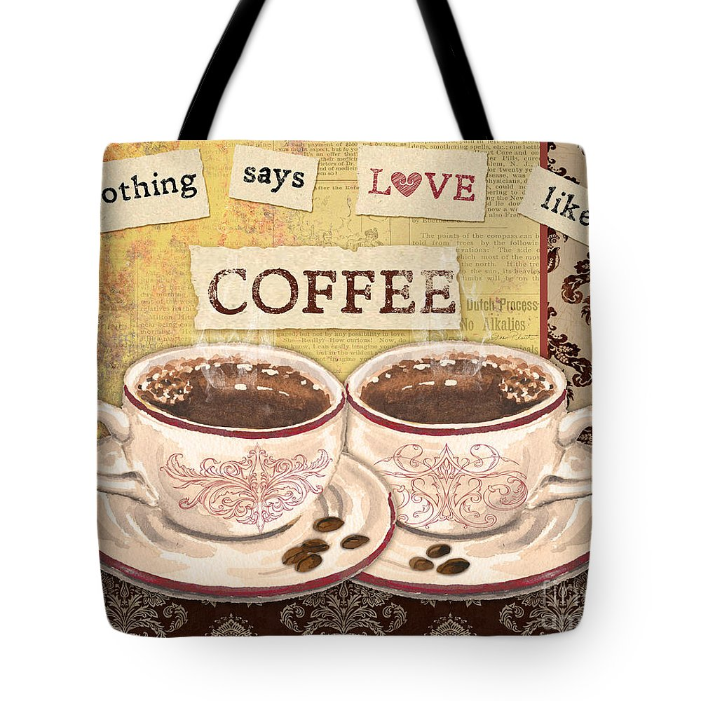 Coffee Tote Bag featuring the painting Coffee Love-jp3592 by Jean Plout