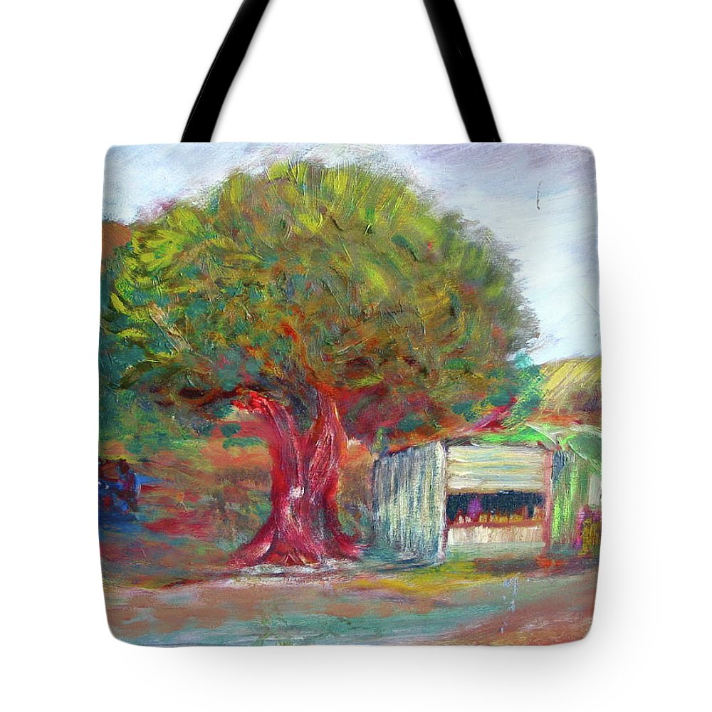 2001 Palestine Tote Bag featuring the painting Coffee Tree Aauj by Robert Gravelin