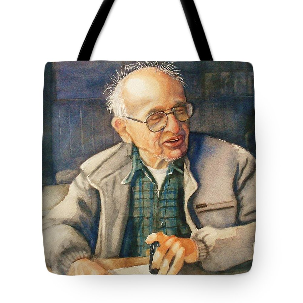 Coffee Tote Bag featuring the painting Coffee With Andy by Marilyn Jacobson