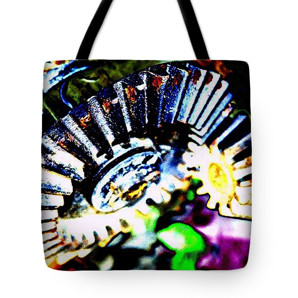 Cogs Tote Bag featuring the digital art Cogs by Tim Allen