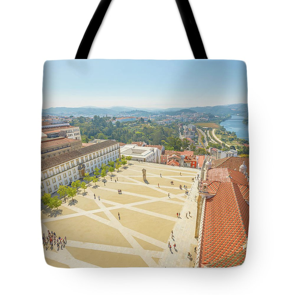 Coimbra Tote Bag featuring the photograph Coimbra University Aerial by Benny Marty