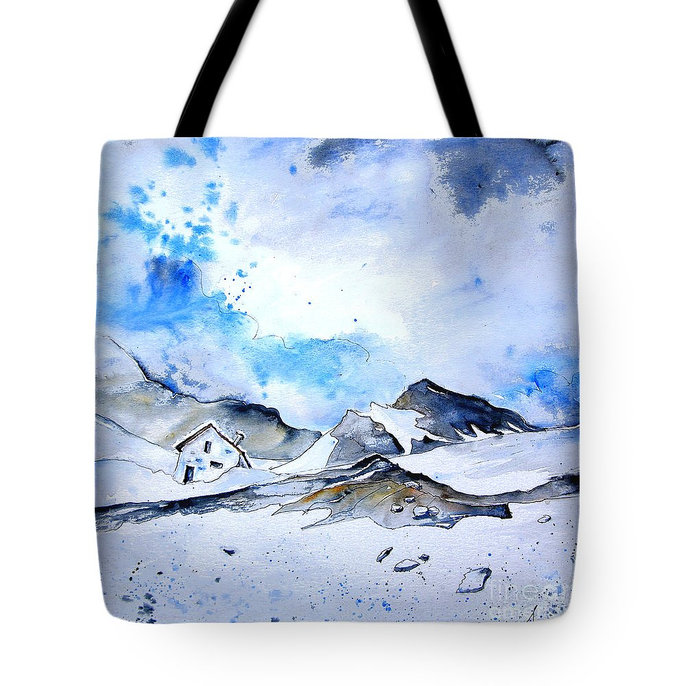 Montains Tote Bag featuring the painting Col Du Pourtalet In The Pyrenees 01 by Miki De Goodaboom