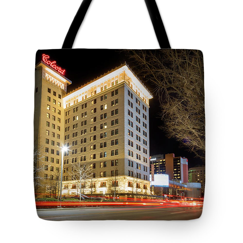 Okc Tote Bag featuring the photograph Colcord At Night by Ricky Barnard