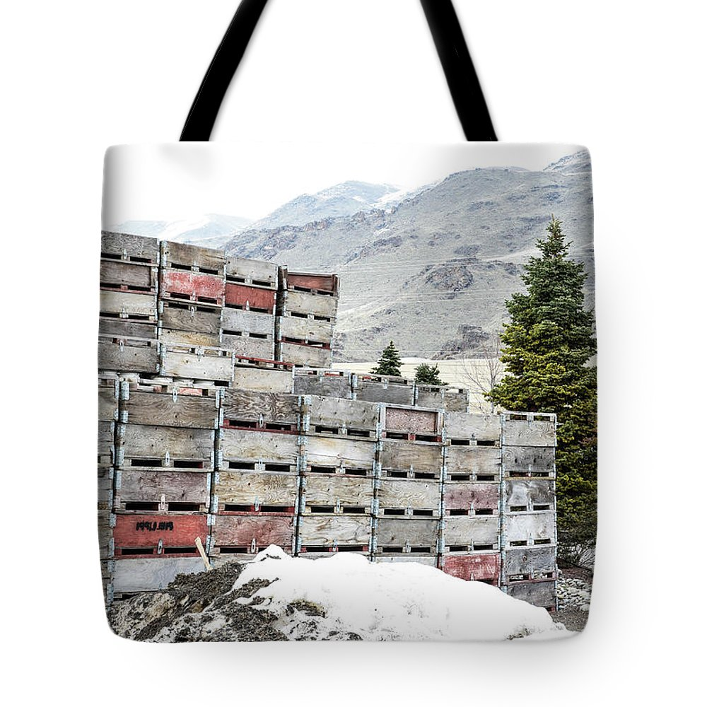 Cold Apple Crates Tote Bag featuring the photograph Cold Apple Crates by Tom Cochran