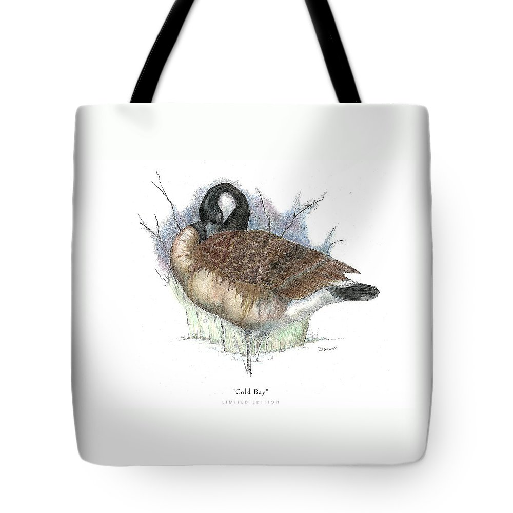 Canadian Goose Tote Bag featuring the drawing Cold Bay by David Weaver