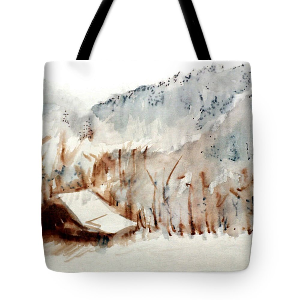 Cold Cove Tote Bag featuring the mixed media Cold Cove by Seth Weaver