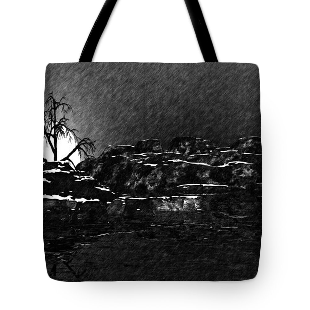 Fine Art Tote Bag featuring the digital art Cold by David Lane