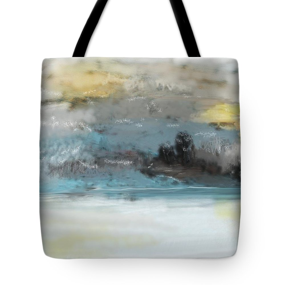 Landscape Tote Bag featuring the digital art Cold Day Lakeside Abstract Landscape by David Lane