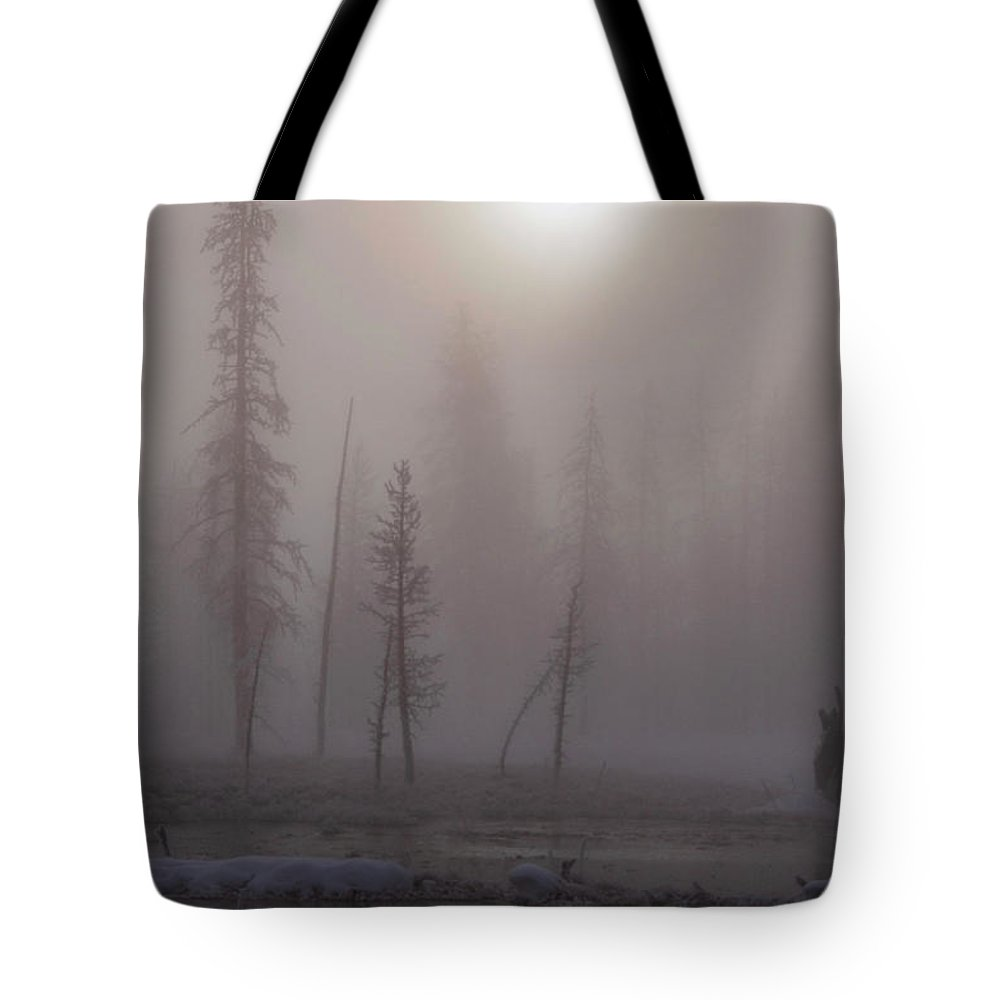 Yellowstone National Park Tote Bag featuring the photograph Cold Morning Mist by Bob Phillips