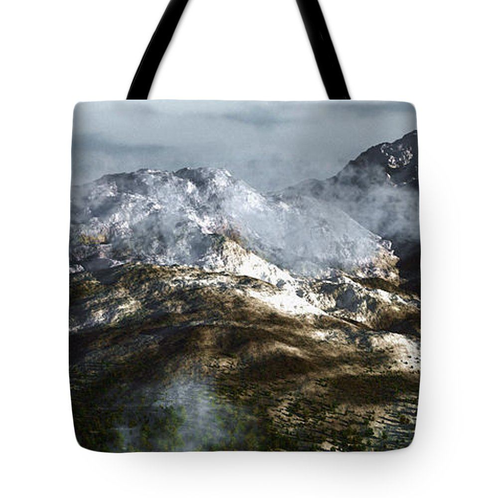 Mountains Tote Bag featuring the digital art Cold Mountain by Richard Rizzo
