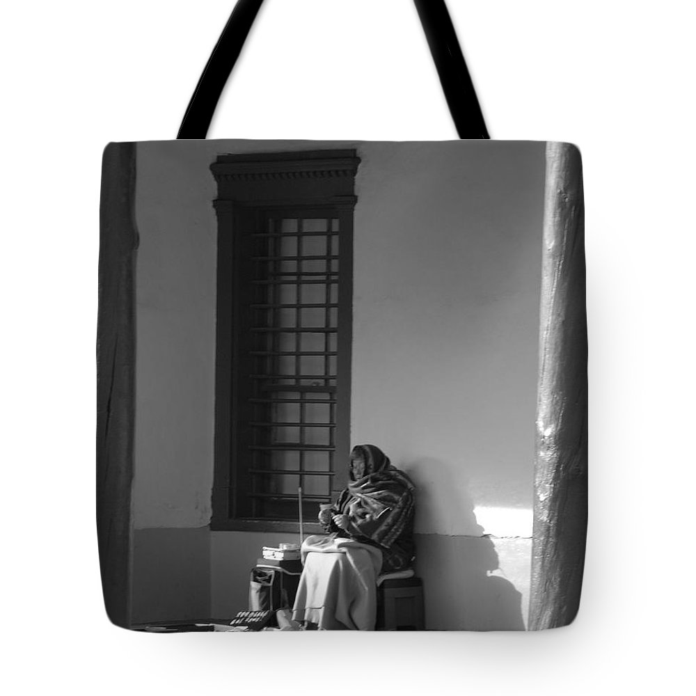 Southwestern Tote Bag featuring the photograph Cold Native American Woman by Rob Hans