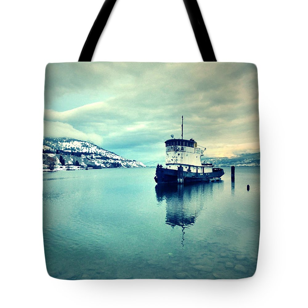 Boat Tote Bag featuring the photograph Cold Reflections by Tara Turner