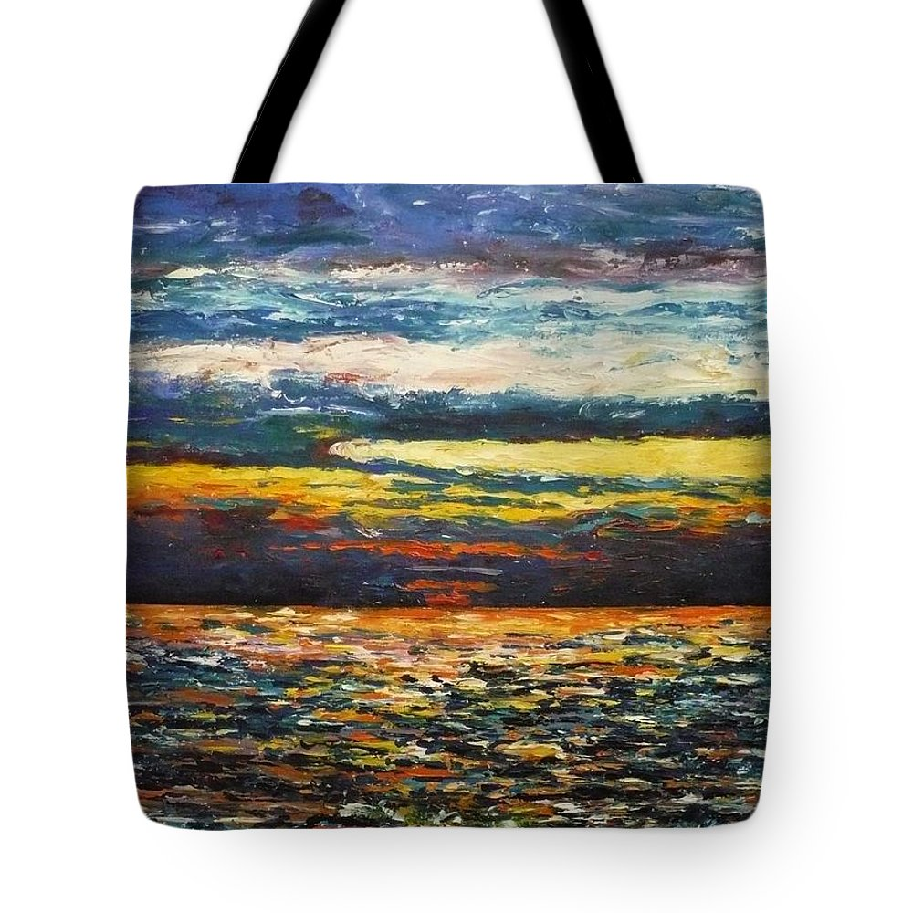 Landscape Tote Bag featuring the painting Cold Sunset by Ericka Herazo