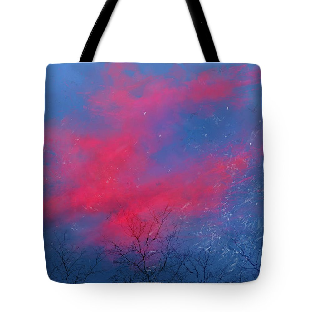 Sky Trees Snow Pink Blue Clouds Calm Sunset Landscape Peace Tote Bag featuring the digital art Cold Sunset by Ine
