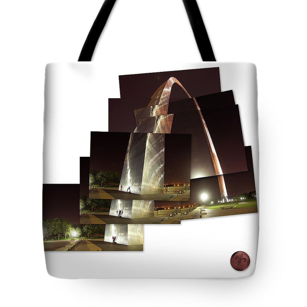 Arch Tote Bag featuring the photograph Collage Of Gateway Arch At Night by Garry McMichael