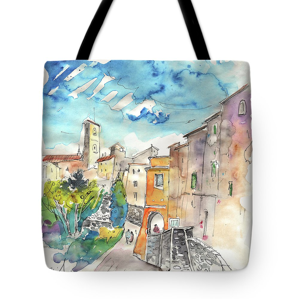Italy Tote Bag featuring the painting Colle D Val D Elsa In Italy 02 by Miki De Goodaboom