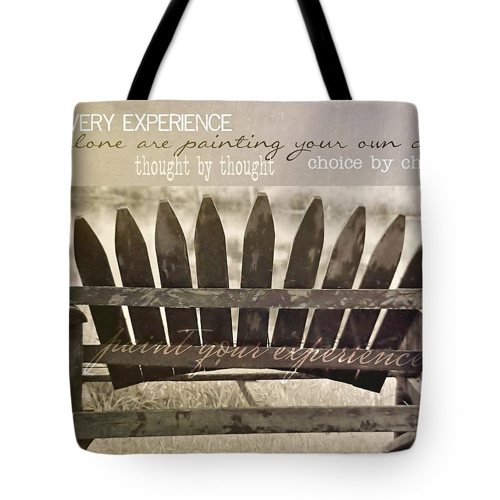 Bench Tote Bag featuring the photograph Collect Your Thoughts Quote by JAMART Photography