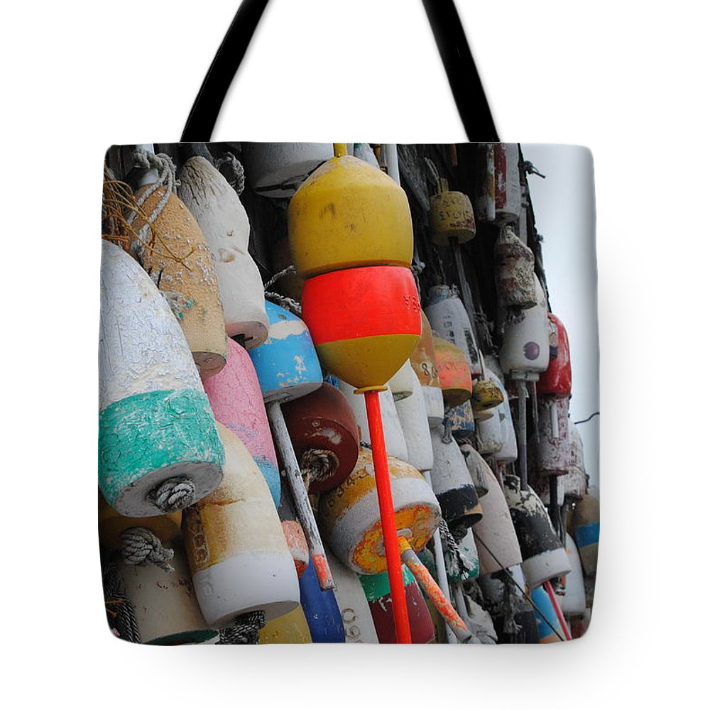Buoys Tote Bag featuring the photograph Collection Of Buoys In Bar Harbor Maine by Linda Howes
