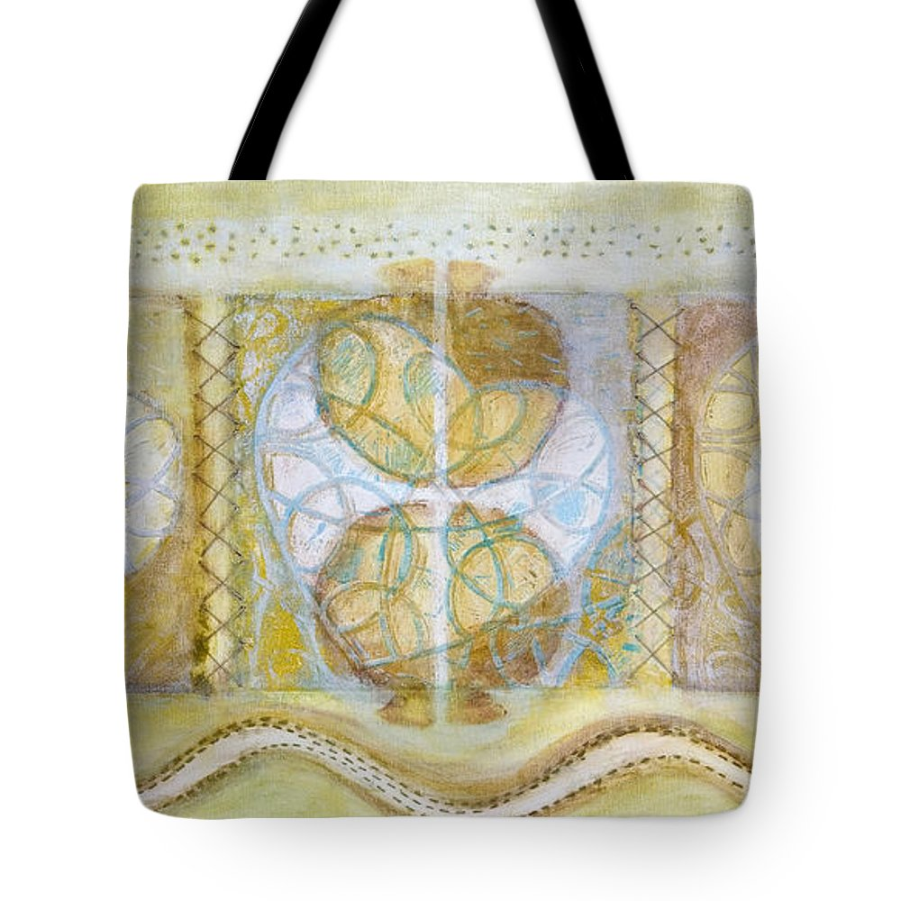 Symbolism Tote Bag featuring the painting Collective Unconscious Three Equals One Equals Enlightenment by Kerryn Madsen- Pietsch