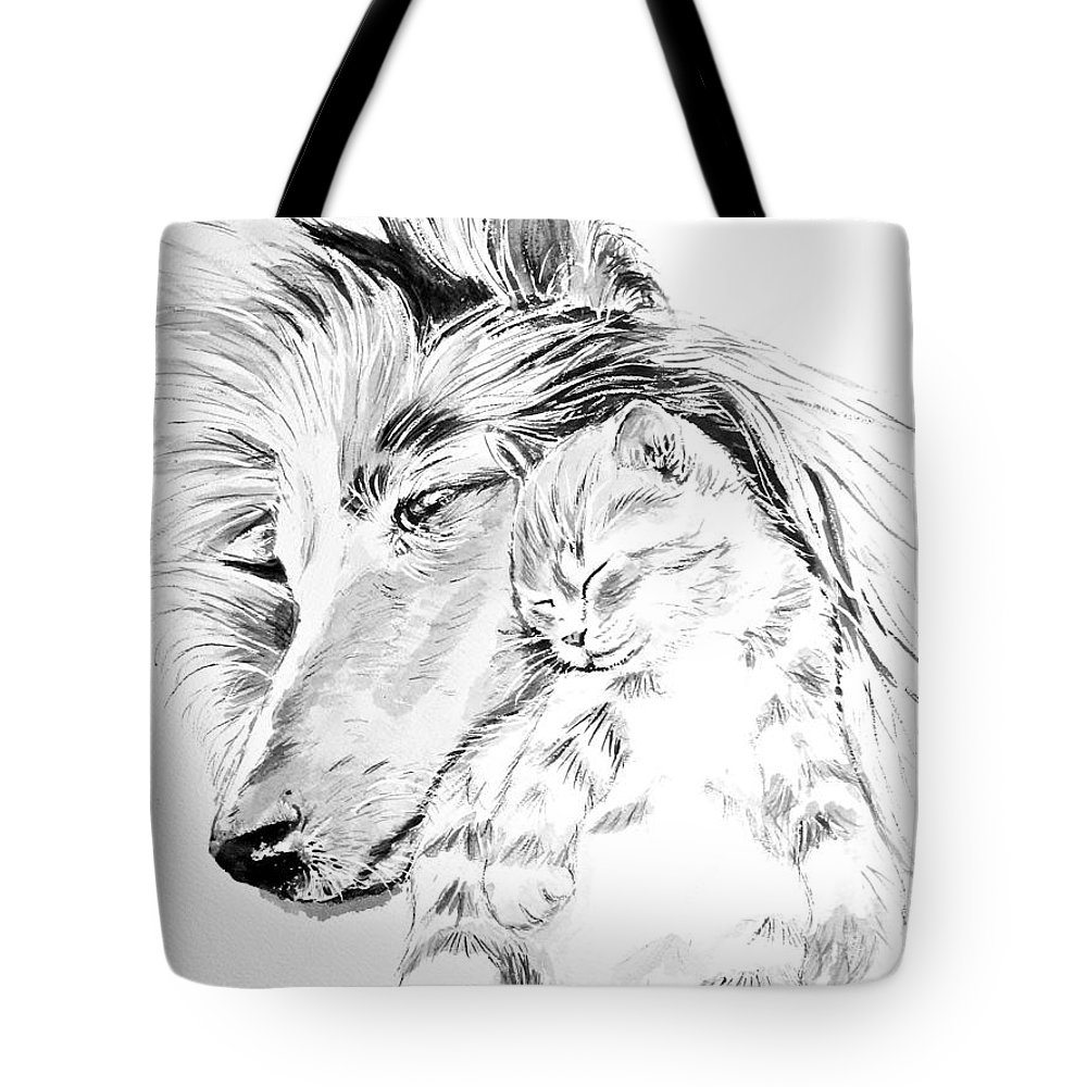 Collie Painting Tote Bag featuring the painting Collie And Kittie by Carol Blackhurst