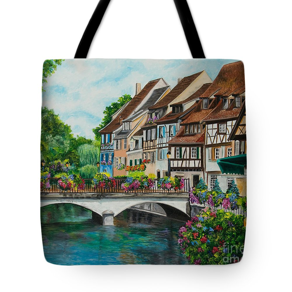 Colmar Tote Bag featuring the painting Colmar In Full Bloom by Charlotte Blanchard