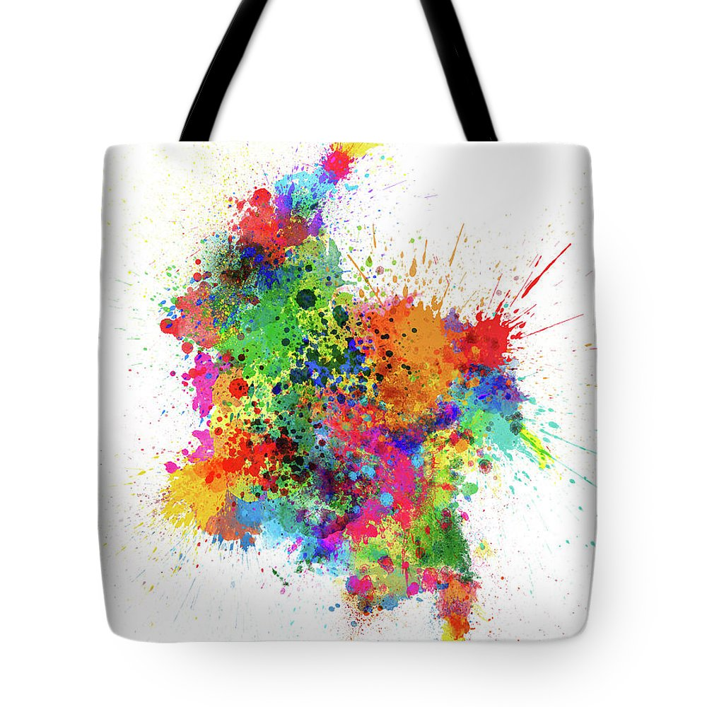 Colombia Map Tote Bag featuring the digital art Colombia Paint Splashes Map by Michael Tompsett