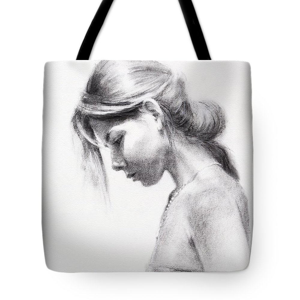 Woman Tote Bag featuring the drawing Colombiana by Steve Henderson