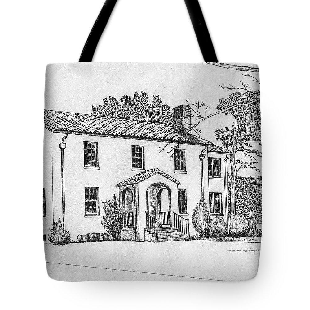 Drawing - Pen And Ink Tote Bag featuring the drawing Colonel Quarters 2 - Fort Benning GA by Marco Morales