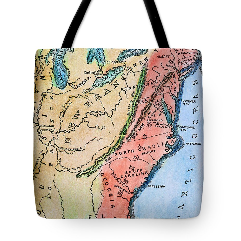 18th Century Tote Bag featuring the photograph Colonial America Map by Granger