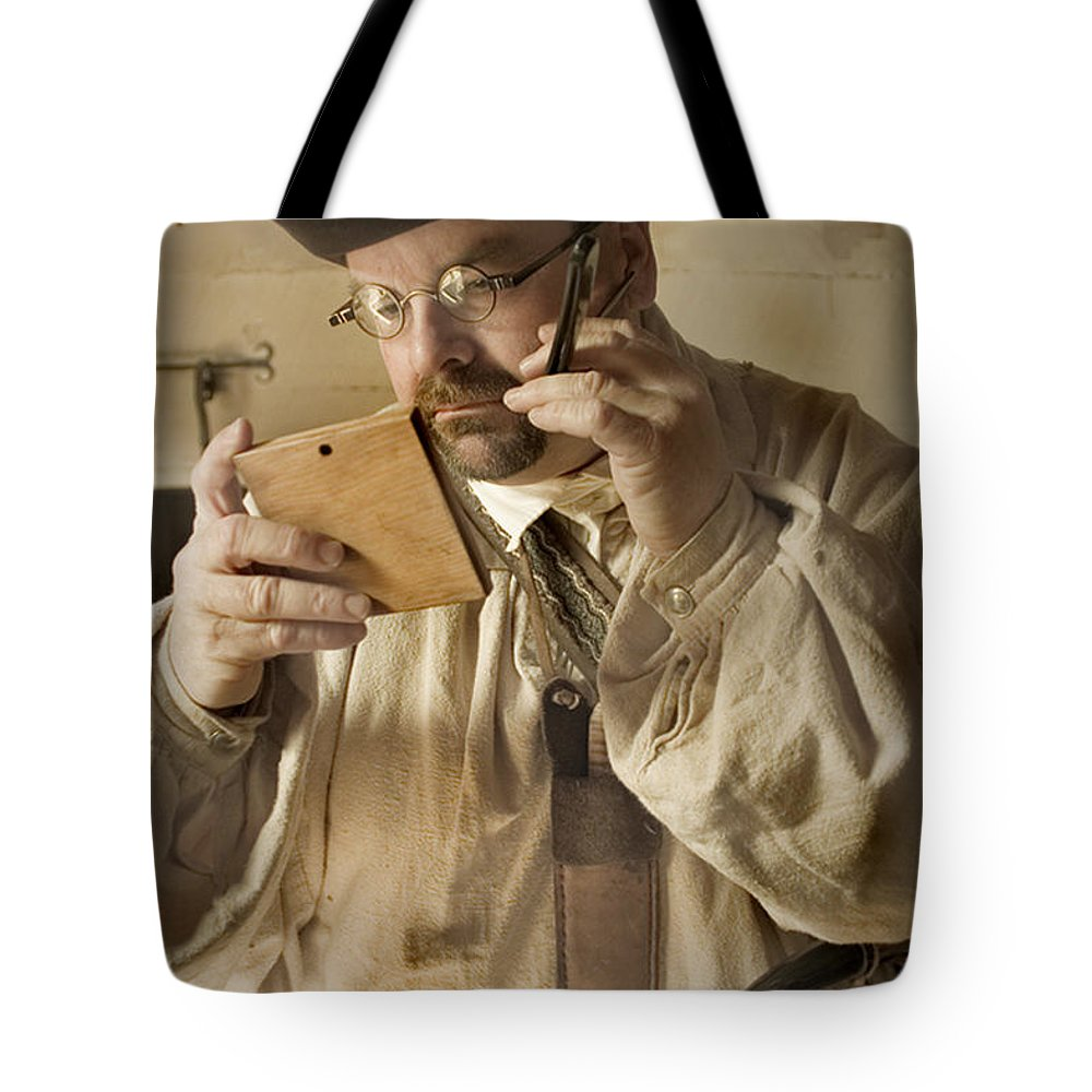 Primitive Tote Bag featuring the photograph Colonial Man Shaving by Kim Henderson