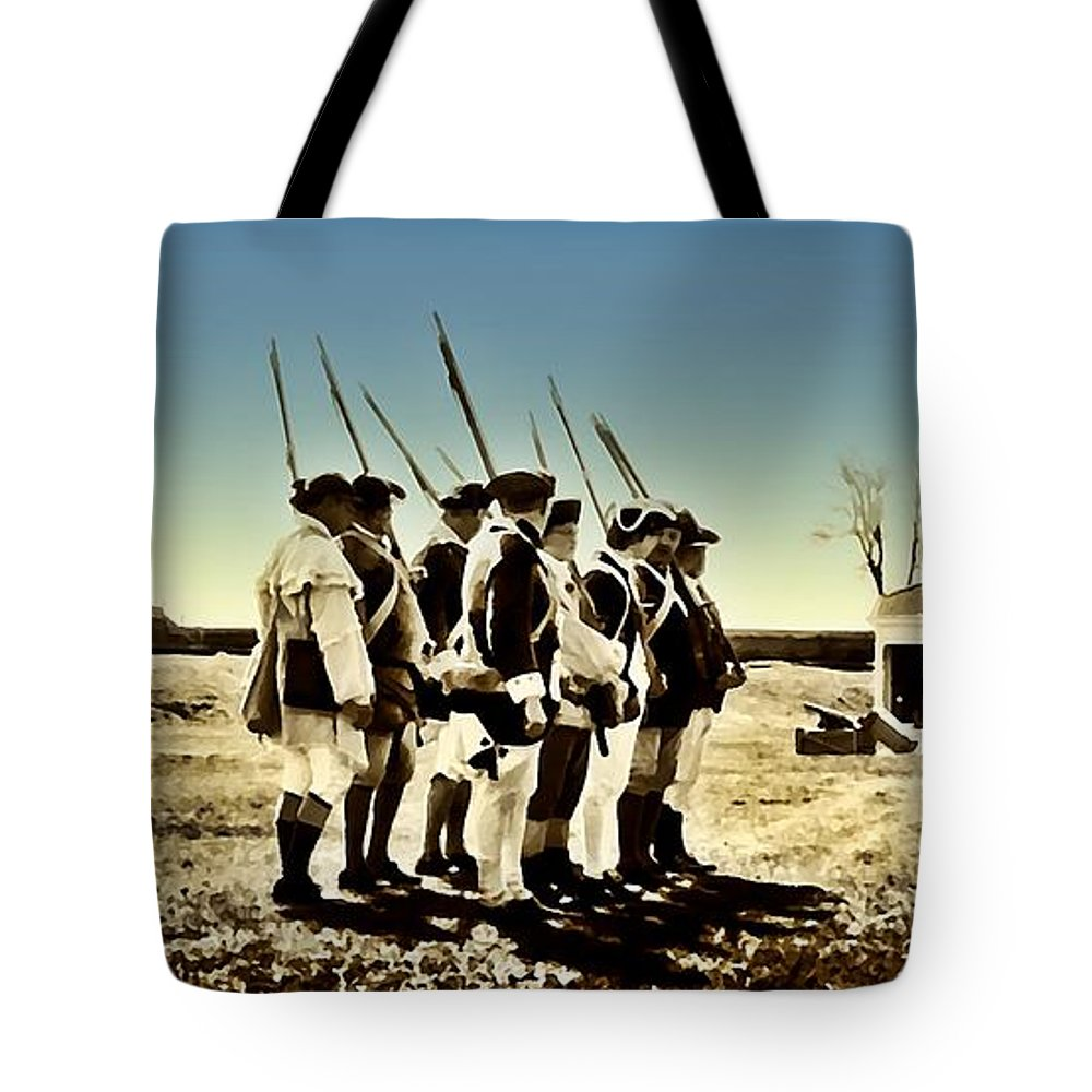Philadelphia Tote Bag featuring the photograph Colonial Soldiers Standing At Attention by Bill Cannon