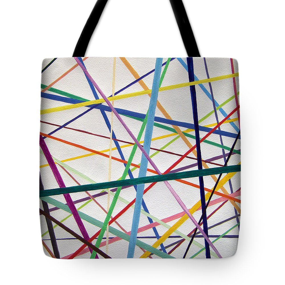 Abstract Tote Bag featuring the painting Color Lines Variety by Lee Serenethos