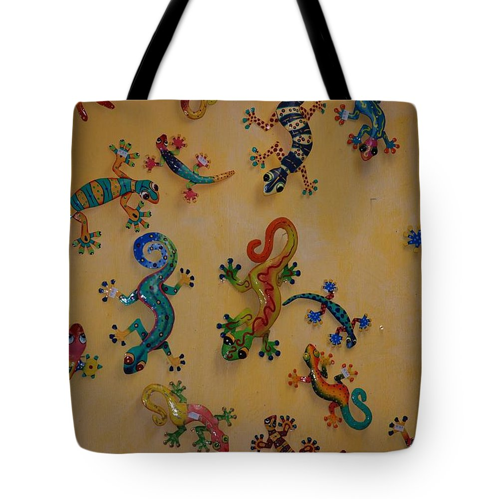 Pop Art Tote Bag featuring the photograph Color Lizards On The Wall by Rob Hans