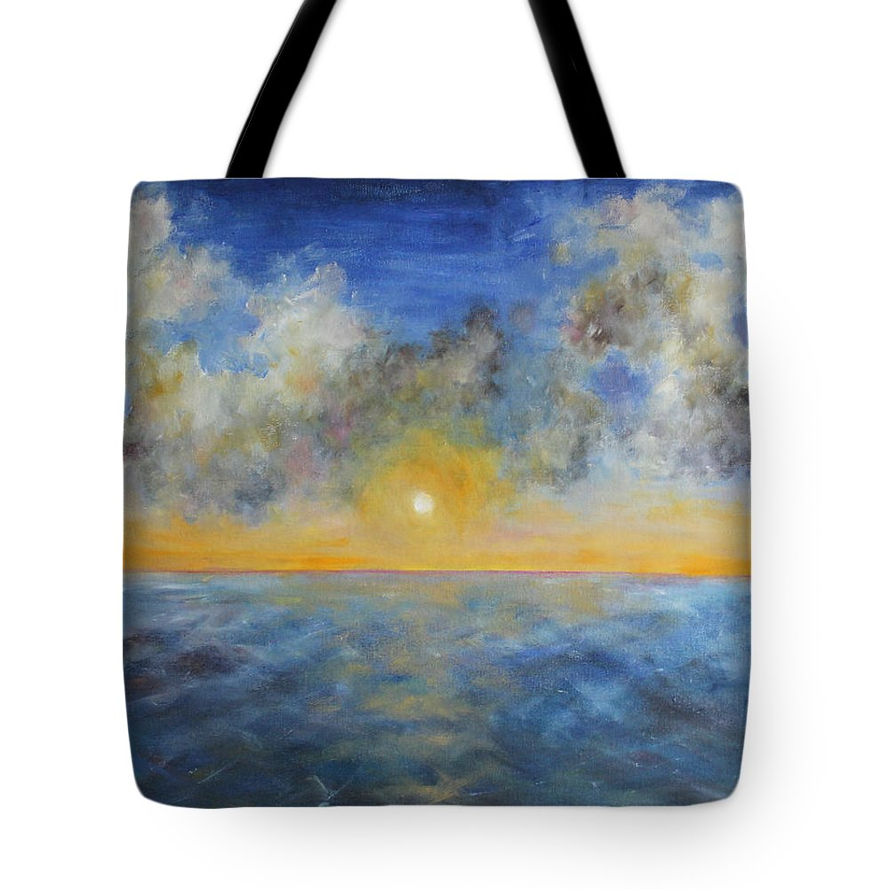 Seascape Tote Bag featuring the painting Color Of Ocean by Olesya Sytnyk