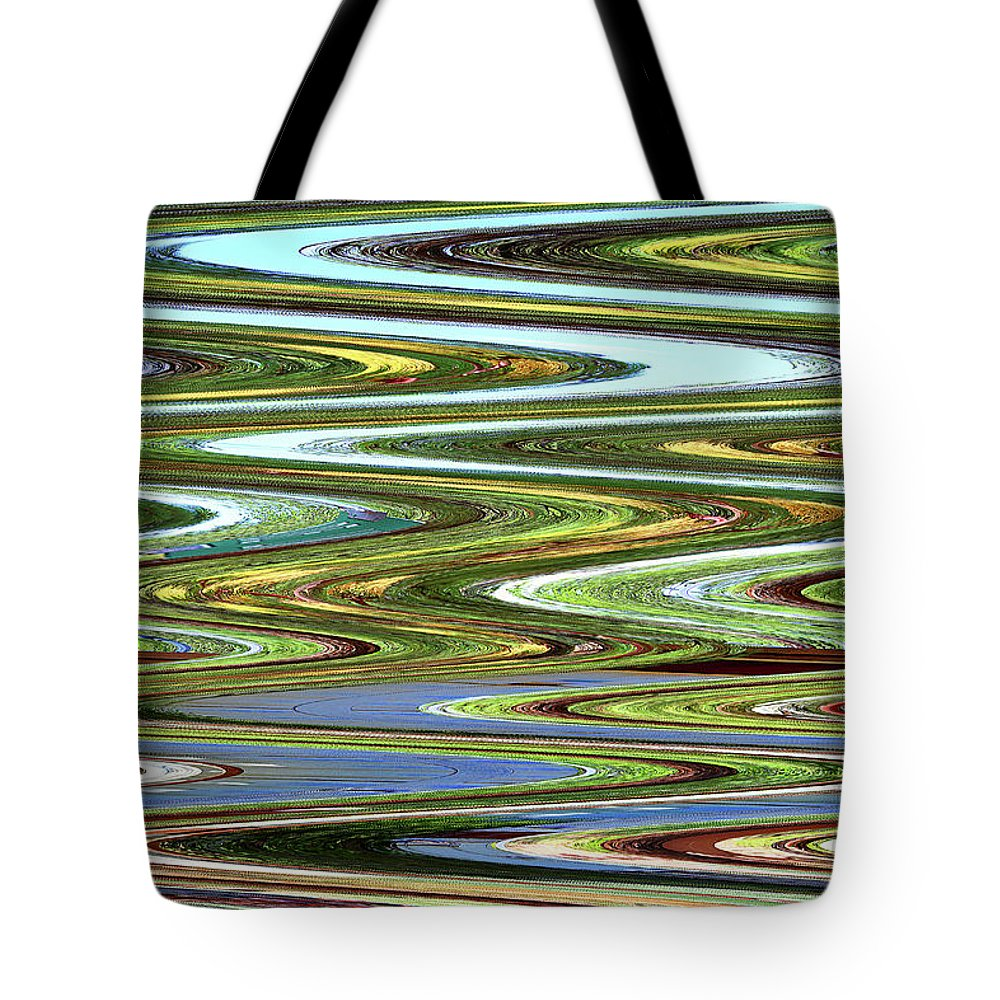 Color River Abstract Tote Bag featuring the digital art Color River Abstract by Tom Janca