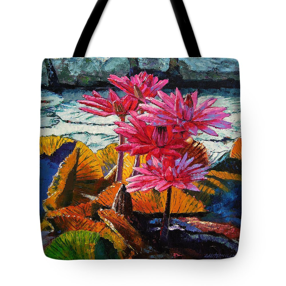 Water Lilies Tote Bag featuring the painting Color Texture And Light by John Lautermilch