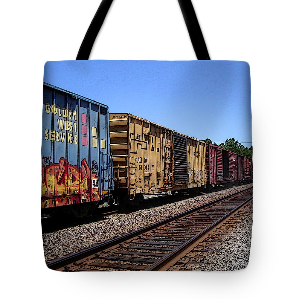 Train Tote Bag featuring the photograph Color Train by Anne Cameron Cutri