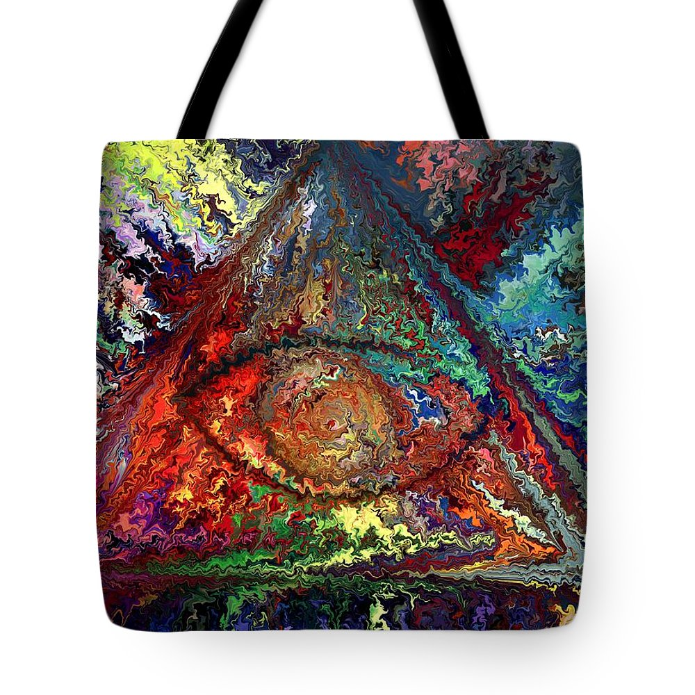 Contemporary Tote Bag featuring the painting Color Triangle by Rafi Talby