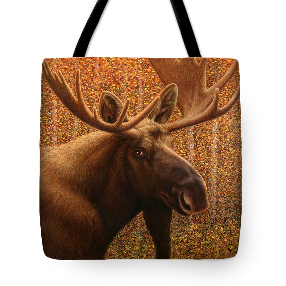 Moose Tote Bag featuring the painting Colorado Moose by James W Johnson
