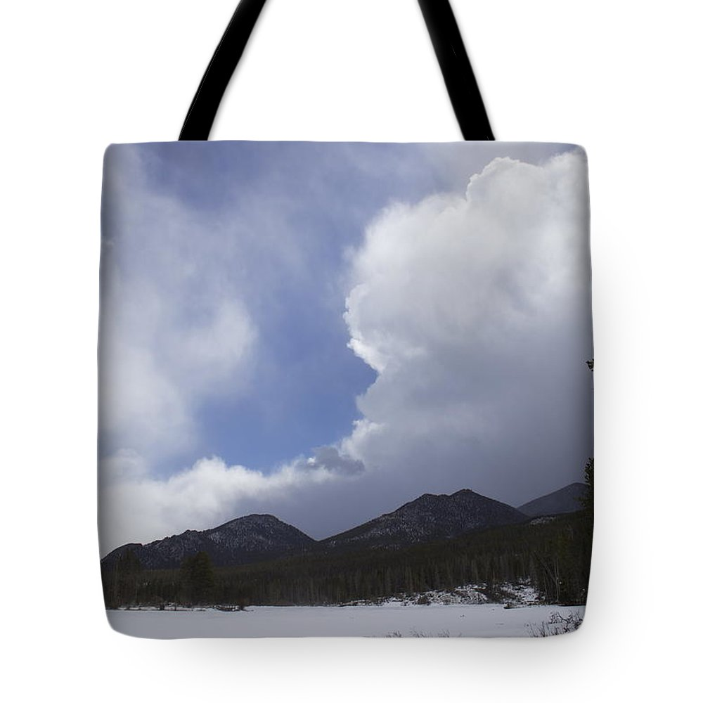 Winter Tote Bag featuring the photograph Colorado Mountain Clouds by Brent Baum