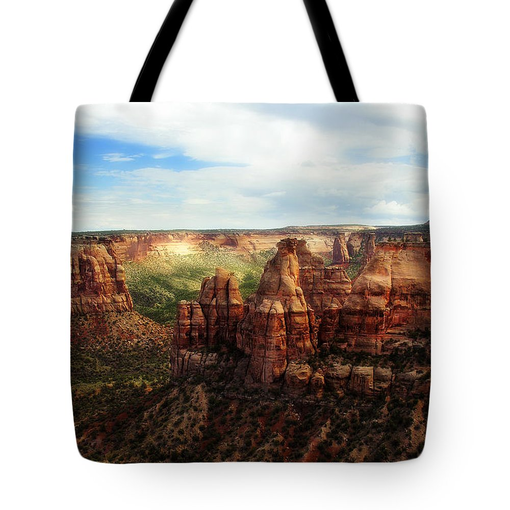 Americana Tote Bag featuring the photograph Colorado National Monument by Marilyn Hunt