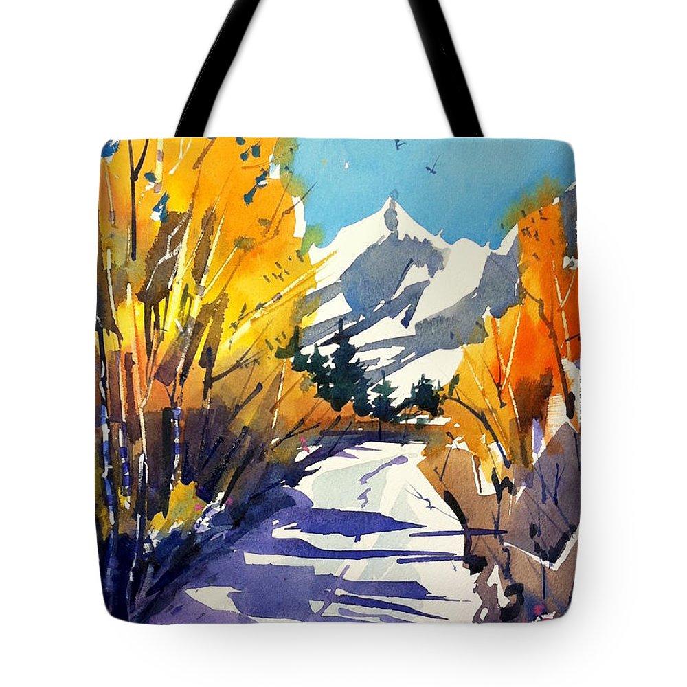 Colorado Winter Rocky Mountains Snow Tote Bag featuring the painting Colorado Winter 1 by Ugljesa Janjic