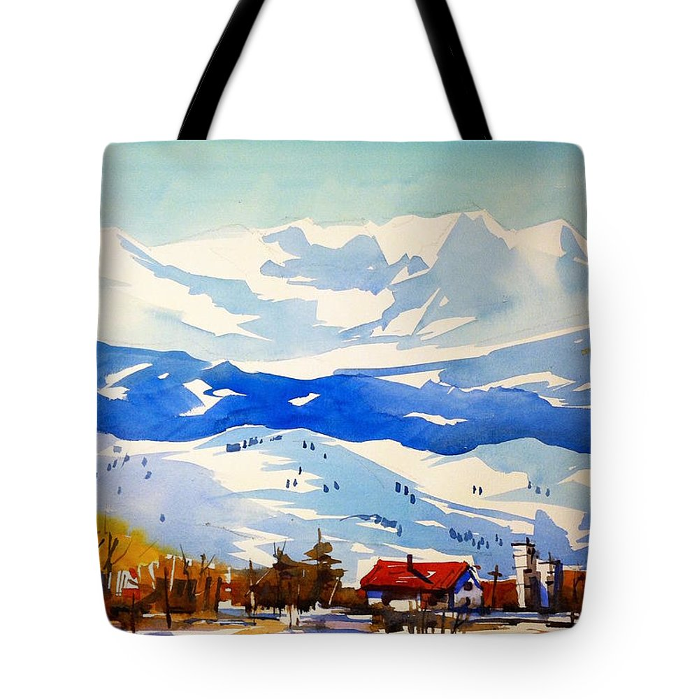 Colorado Winter Rocky Mountains Snow Tote Bag featuring the painting Colorado Winter 3 by Ugljesa Janjic