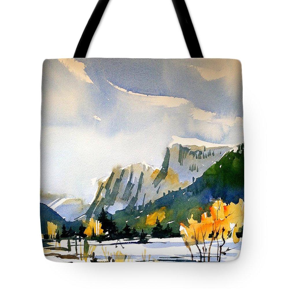 Colorado Winter Rocky Mountains Snow Tote Bag featuring the painting Colorado Winter 5 by Ugljesa Janjic