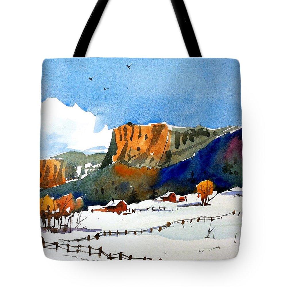 Colorado Winter Rocky Mountains Snow Tote Bag featuring the painting Colorado Winter 6 by Ugljesa Janjic